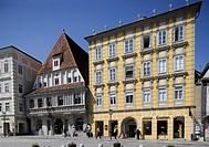 Austria, Upper_Austria, Steyr, city_place, Bummerlhaus, city, old town, houses, buildings, Häuserreihe, facades, styles, architecture, summer, sunny, ...