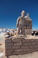 Argentina, province Jujuy, Andes_highland, salt_desert Salinas Grande, monument, church, salt_bricks, figure, South America, North_Argentina, Andes, h...