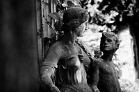 grave yard, statues, grave, mother, child, s/w,