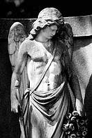 grave yard, grave, statue, angels, s/w,
