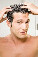 Man, attractively, hair, cleaning, foam, portrait,