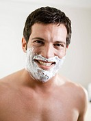 Man, attractively, smiling, face, shaving cream, portrait,