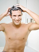 Man, smiling, cleans attractively, hair, foam, semi_portrait,