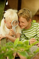 Children, magnifier, curiosity, plays