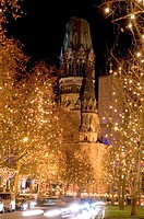 Germany, Berlin, Kurfürstendamm, Kaiser_Wilhelm_Gedächtnis_Kirche, street scenery, christmas_illumination, evening, capital, center, buildings, church...