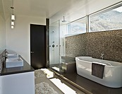 Modern bathroom with soaking tub