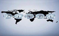 Time zone clocks on world map