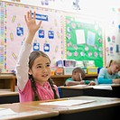 Girl raising hand in classroom (thumbnail)