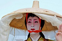 A Japanese woman dressed up as Madame Fujiwara Tameie Abutsu-Ni for the Jidai Matsuri Festival of Ages in Kyoto