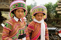 portrait of Flower Hmong girls in Cau Son near Bac Ha Vietnam