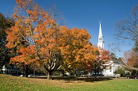 'The Battle Green' historic town green with church, maples in autumn, Lexington, Massachusetts, USA