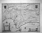 Andalusia, Spain. French map circa 17th century. Spain
