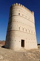 historic adobe fortification, watchtower of Franja oasis, Batinah Region, Sultanate of Oman, Arabia, Middle East
