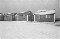 beach, houses, snow,