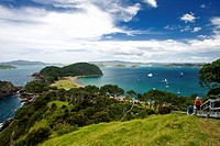 Views and hike on Roberton Island  Popular swimming beach in the Bay of Islands, North Island, New Zealand  MR