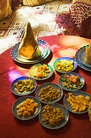 Moroccan salads at restaurant in the medina, Fes el Bali, Fes, Morocco