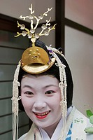 A participant in the Aoi matsuri dressed as a lady of the court in Heian period in Kyoto city