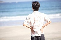 Back figure of Japanese young man