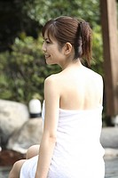 Back figure of Japanese woman