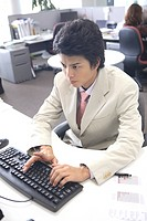 Businessman of hitting keyboard