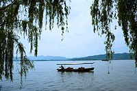 Boat on West Lake in Hangzhou, People's Republic of China