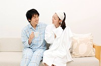 Couple after taking a bath
