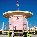 Pink art deco lifeguard tower closed up on beach in Miami, Florida, USA