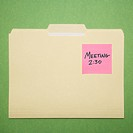 Folder with pink sticky note reminder for a meeting on a green background (thumbnail)