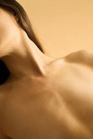 Nude Caucasian mid_adult female chest and neck