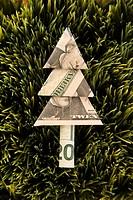 Studio shot of origami tree made from a twenty dollar bill placed in grass