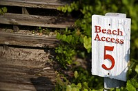 Beach access sign on Bald Head Island, North Carolina