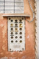 Doorbell box for apartment building in Venice, Italy