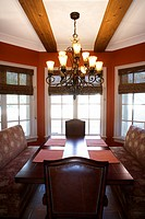 Dining room with table and chairs in affluent home