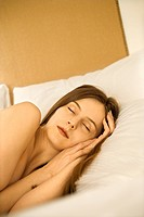 Caucasian mid_adult woman sleeping