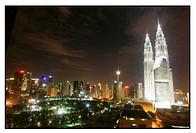 Petronas Twin Towers in Kuala Lumpur by night, MALAYSIA