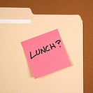 Folder with pink sticky note reading lunch on a green background