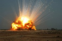 A cache of unexploded ordnance UEXO is detonated by U.S. Air Force Airmen