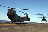 CH_46E Sea Knight Helicopters practice vertical replenishments
