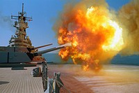Battleship fires a round from one of the Mark 7 16_inch/50_caliber guns