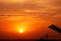 sunset, sunrise, rise, dubai, construction
