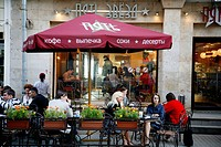 Sep 2008 - People sitting at outdoors cafe on Kamergersky pereulok Street next to Tverskaya Ulitsa street, Moscow, Russia