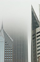 Fog around high-rise buildings in Chicago