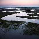 Aerial scenic view of winding waterway in marshland at Baldhead Island, North Carolina