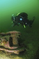 Parts of German Battleship Kaiser, Scapa Flow, Orkney islands, Scotland, UK