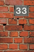 wall, brickwork, brick, house number, sign, signboard