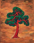 trees, Orientalpainting, plants, plant, pine, tree, tradition