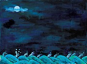night, Orientalpainting, cloud, wave, sea, tradition