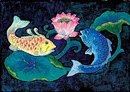 pair, Orientalpainting, fish, leaf, lotus, pond, tradition