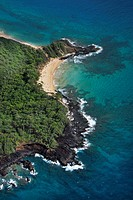 Aerial of Maui, Hawaii beach and Pacific ocean