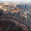 Aerial of scenic Arizona desert landscape.
